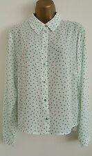 NEW M&S 12 14 16 Green Polka Dot Spotted Vintage Chiffon Shirt Top Blouse