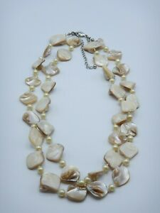 Shell Necklace Double Stranded Faux Pearl Good Condition