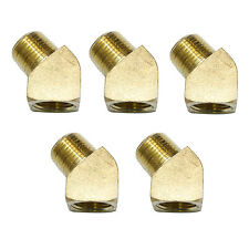 "(5) 45 Degree 1/4"" NPT Pipe Thread Brass Street Elbow Fitting 5 pack - FST44EA"