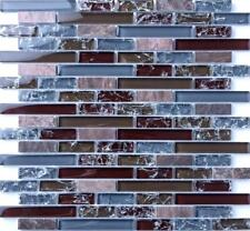 1 SQ M Blue and Brown Crackle Glass & Marble Mosaic Tile Sheet 0156