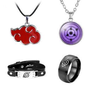 4* Anime Naruto Sharingan Itachi Eye Necklace Jewelry Headband Pendant Ring Set%