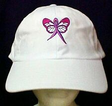 Pink Ribbon Butterfly Baseball Hat Breast Cancer Awareness White Embroidered Cap