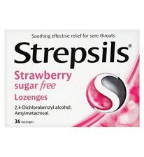 Strepsils Strawberry Sugar Free Lozenges For Sore Throats 36 Lozenges