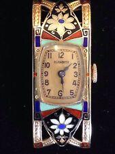 Art Deco Ebel 15 Jewel 18KT Enamel 1920's Rare Solid 18KT Gold