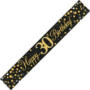 9ft Black & Gold Happy 30th Birthday Foil Banner Age 30 Party Decorations