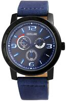 Excellanc Herrenuhr Blau Analog Chrono-Look Metall Kunst-Leder Quarz X2900093003