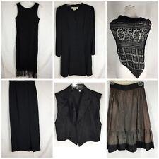 Vtg Steam Punk Lot 6 Women's 7 8 8P Black Vest Ruffle Skirt Lace Wrap Long Jacke