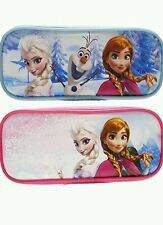2 Disney Frozen Anna Elsa Olaf Pencil Cases Pouch Zipper Pink Blue Snow Queen