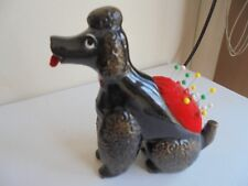 poodle dog ceramic pin cushion measuring tape toy japan vintage1950s gold dust