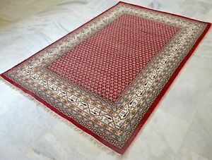 Modern Luxury  Hand  knotted Wool Red White  Area Rug
