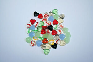 20 Glass Heart Beads, Mixed Colours , 12mm