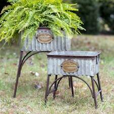 "Rustic Set of Two ""Poland"" Tubs with Stands in Corrugated Galvanized Metal"
