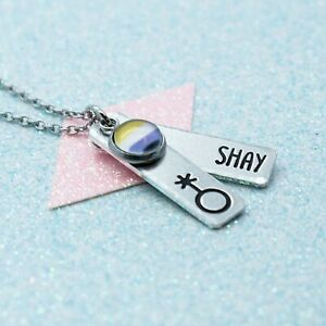 LGBT Bright Non Binary Necklace, Personalised, Gay Pride, Pendant Necklace