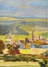 Aquarell Landschaftsaquarell Landschaft Dorflandschaft Aquarellmalerei 18x13 cm