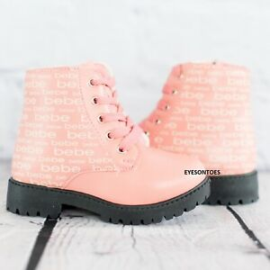 GIRLS CHILDRENS BEBE PINK ZIP ANKLE KIDS WARM WINTER LACE UP ANKLE BOOTS SHOE SZ