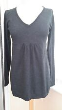 H&M Mama Charcoal Grey Fine Knit Cotton Blend Stretch Maternity Top Work Size S