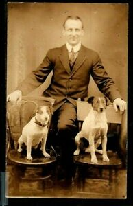 """(3067) 1907 - 09 PHOTO P/C PORTRAIT OF MAN WITH TWO """"JACK RUSSELL"""" DOGS RPPC"""