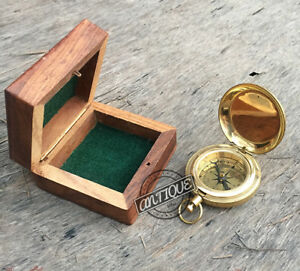 """Vintage Small Pocket Office 2"""" Compass w/Box Wooden Gift Traveler Hiking To"""