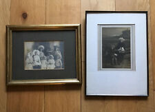 2 Old Antique Edwardian Framed Photographs Of Young Girls Children