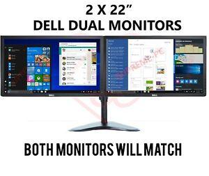 """2 x Dell/HP 22"""" Dual Monitor Cheap Gaming Monitor LED 1080p Computer PC VGA DVI"""