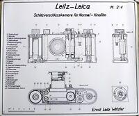 LEITZ LEICA Schlitzverschlußkamera 0-Serie 3:1 auf Papier on Paper 42x49cm