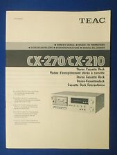 TEAC CX-270 CX-210 CASSETTE OWNER MANUAL ORIGINAL FACTORY ISSUE REAL THING