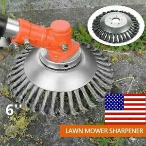 6''inch Steel Wire Wheel Brush Cutter Grass Trimmer Head Weed Cleaning Garden US