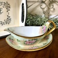 RS Germany Porcelain Gravy I Sauce Boat & UnderPlate FLORAL Handpainted Antique