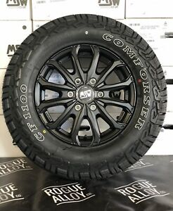 """16"""" SPRINTER CRAFTER ALLOY WHEELS 6X130 ALL TERRAIN TYRES LOAD RATED BLACK NEW"""
