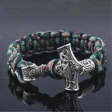 Men's Norse Viking Thor Hammer Mjolnir&Rune Bead Parachute Cord  Rope Bracelet