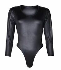 Ladies Long Sleeve PU Wet Look PVC Leather Shiny Sexy Leotard Bodysuit Women Top