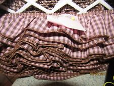 """BROWN AND PINK COTTON GATHERED GINGHAM TRIM  2"""" WIDE by the yard"""