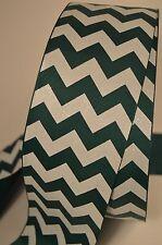 "3"" Inch Jungle Forest Green White Chevron Stripe Glitter Cheer Bow Ribbon"