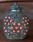 Vintage Antique CHINESE FILIGREE SNUFF BOTTLE WITH TURQUOISE & CORAL