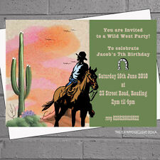Personalised Cowboy Western Wild West Birthday Party Invitations x 12 H0320