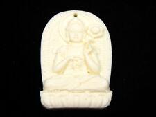 Solido Osso Dettagliato a Mano Ciondolo Kwan-Yin Buddha Porta Lotus #12041807