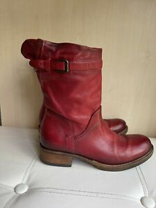 Airstep Red Leather Mid Calf Boots Size 39 Uk 6