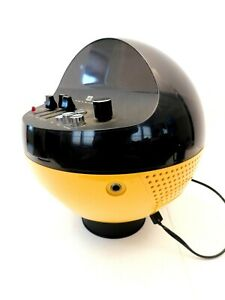 VINTAGE 1970s PSYCHEDELIC YELLOW WELTRON OLD AM-FM SPACE AGE ANTIQUE RADIO WORKS