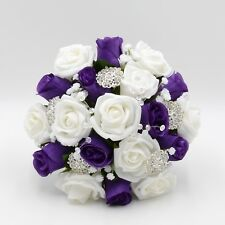 Artificial Wedding Flowers Bridesmaids Posy Bouquet Purple White Roses Brooches
