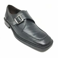 Men's Bass Italy Monk Strap Loafers Dress Shoes Size 10.5 M Black Leather W11
