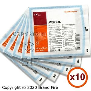 10 X Melolin Low Adherent Wound Dressing - 10x10cm First Aid Burns Wounds