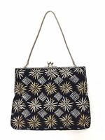 Vintage Black Velvet Star Bead Gold Silver Beaded Handbag Evening Bag 80s 90s