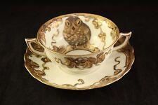Antique Rouen Briggs & Co Boston Porcelain China Gold Owl Birds Tea-cup & Saucer