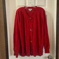 Avenue Women's Red Lightweight Crew Neck Button Cardigan size 22/24