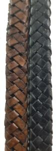 Black & Brown 8 mm wide oval leather cord