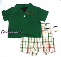 COOGI OUTFIT SET POLO SHIRT SHORT PANTS BOYS 3 6 9 12 MONTHS GREEN NEW