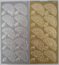 2 sheets of Mixed Fans Peel-offs Gold and Silver 40 elements in total