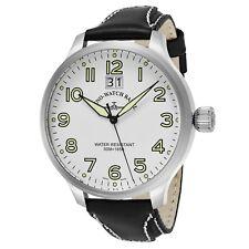 Zeno Men's SOS White Dial Black Leather Strap Swiss Quartz Watch 6221-7003-A2