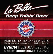 "LA BELLA  0760M-S ""ORIGINAL 1954"" FLATWOUND BASS STRINGS -  SHORT SCALE , 52-110"