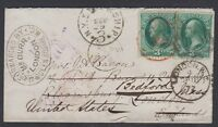 1872 U.S-U.K. cover w/ two 3c Banknote stamps then returned by agent to the U.S.